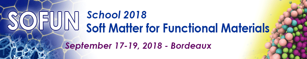 """Soft Matter for Functional Materials"" School (SoFun'2), September 17-19, 2018 - Bordeaux"